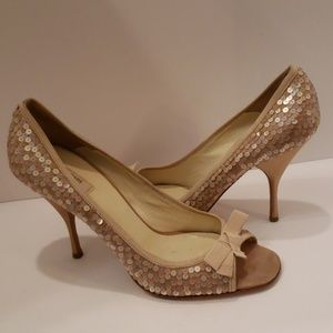 Prada gold sequins and satin peep toe sandals